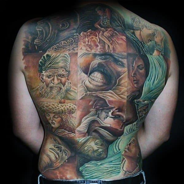Masculine Great Female Portrait Optical Illusion Full Back Tattoos For Men