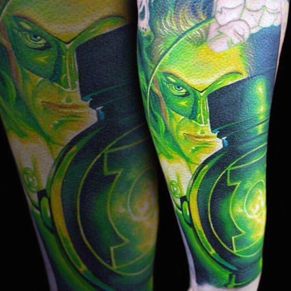 Masculine Green Lantern Themed Mens Forearm Sleeve Tattoo
