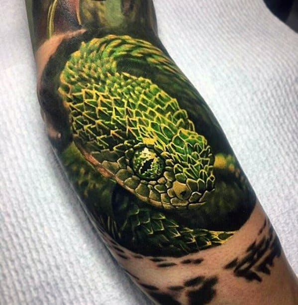 Masculine Green Snake 3d Realistic Greatest Tattoos For Men