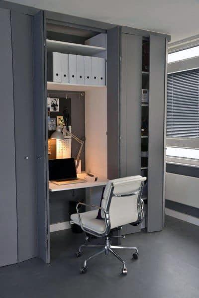 Masculine Grey Interior Closet Office Design