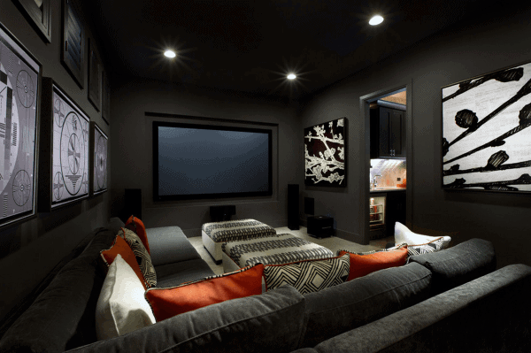 masculine grey painted walls home theater ideas. Interior Design Ideas. Home Design Ideas