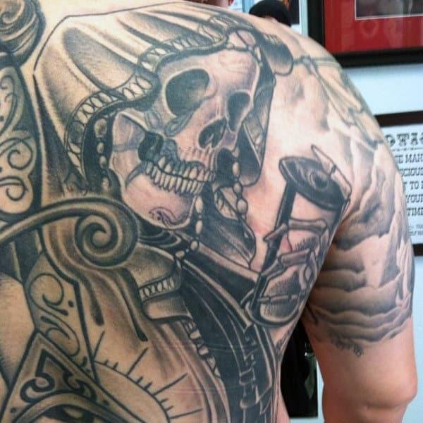 Masculine Grim Reaper Back Tattoos