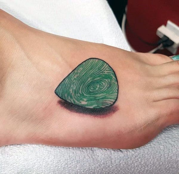 Masculine Guitar Pick Fingerprint Mens Foot Tattoo With 3d Design