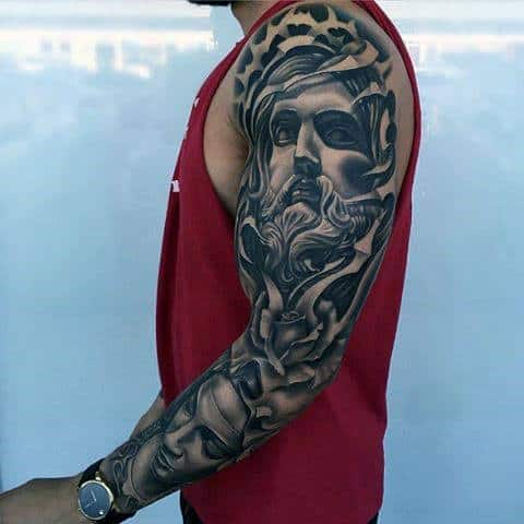 Masculine Guys 3d Full Arm Jesus And Mary Sleeve Tattoos