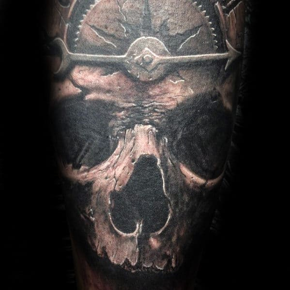 Masculine Guys 3d Skull Sleeve Tattoo Design Inspiration