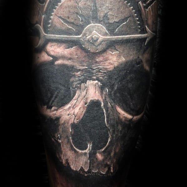 Masculine Guys 3d Skull Sleeve Tattoo Design Inspiration