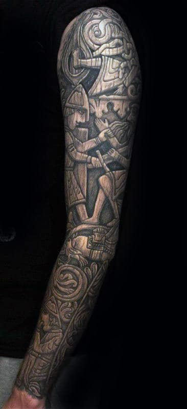 Masculine Guys 3d Wood Carving Full Sleeve Tattoo Designs