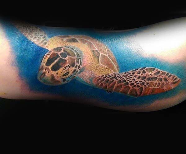 Masculine Guys Arm Turtle Tattoo Ideas