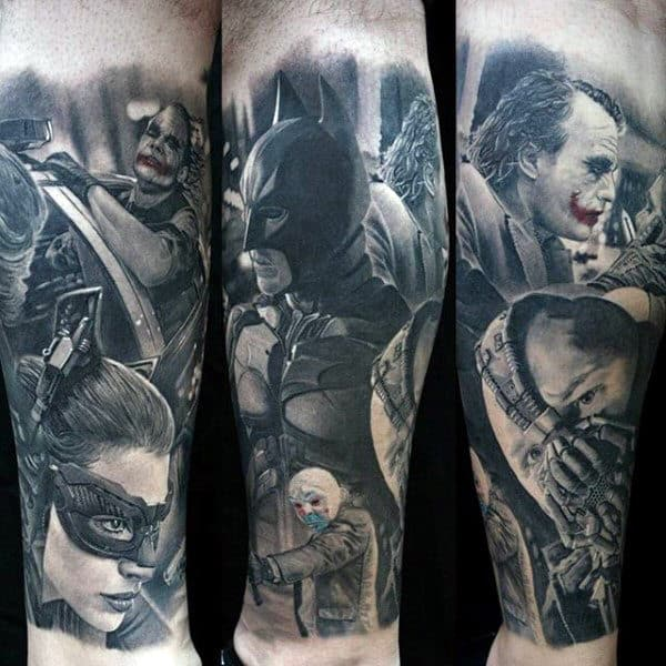 Masculine Guys Batman Themed Tattoo With Bane Design Forearm Sleeve