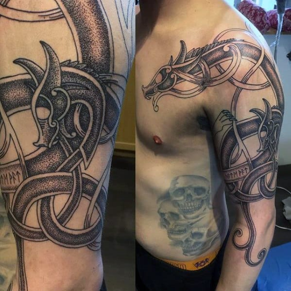 Masculine Guys Celtic Dragon Arm Tattoos