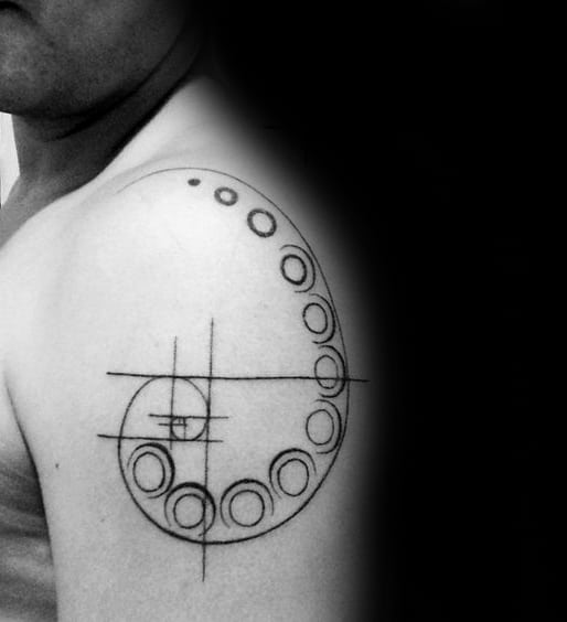 Masculine Guys Circles Fibonacci Spiral Geometric Upper Arm Tattoos
