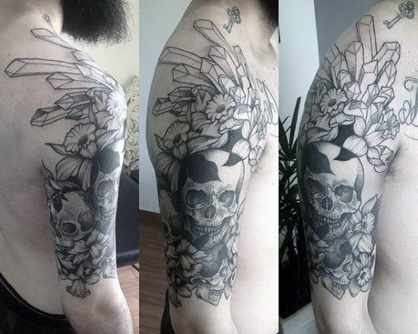 Masculine Guys Crystal Half Sleeve Tattoo With Skull Design