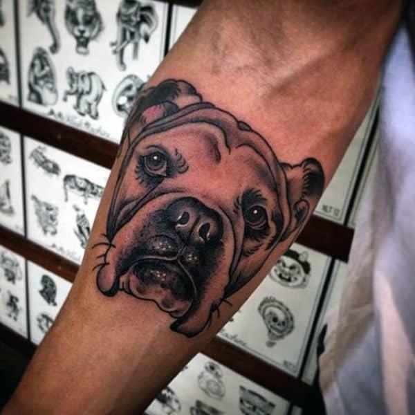 Masculine Guys Dog Tattoo On Inner Forearm