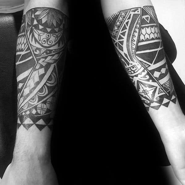Masculine Guys Forearm Band Tribal Polynesian Tattoo Ideas