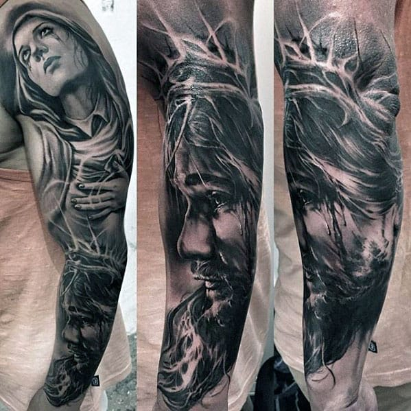 50 jesus sleeve tattoo designs for men religious ink ideas for Jesus tattoos on arm