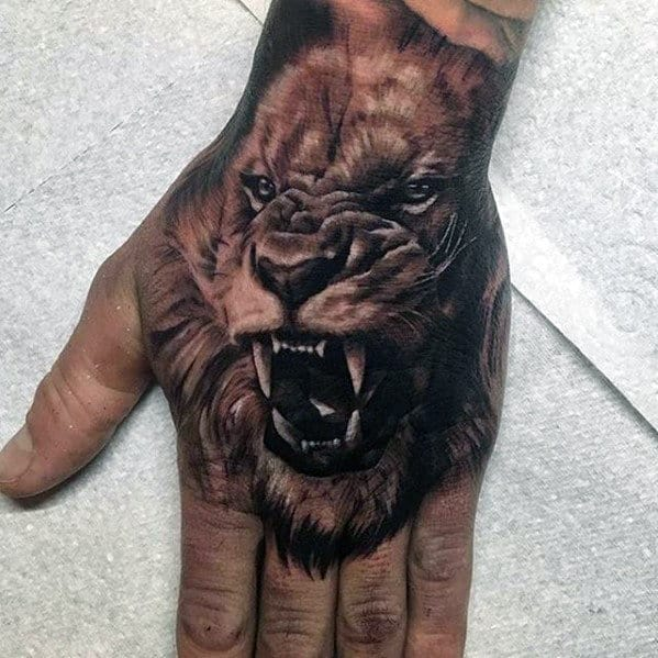 Masculine Guys Hand Tattoo With Lion Design