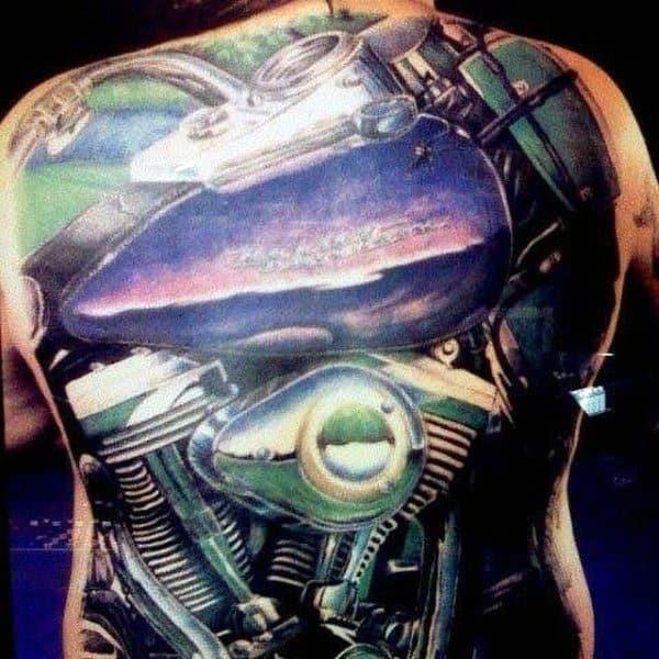 Masculine Guys Harley Davidson Back Tattoos