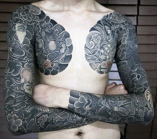 Masculine Guys Japanese Upper Chest Tattoo Ideas