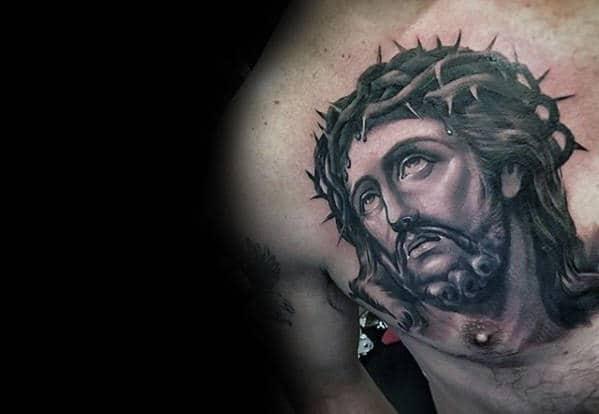 Masculine Guys Jesus Shaded Upper Chest Portrait Tattoo