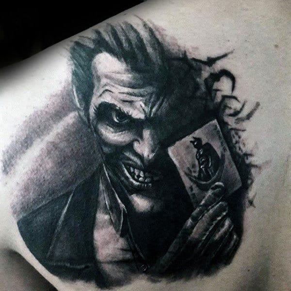Masculine Guys Joker Upper Back Shaded Tattoo Ideas