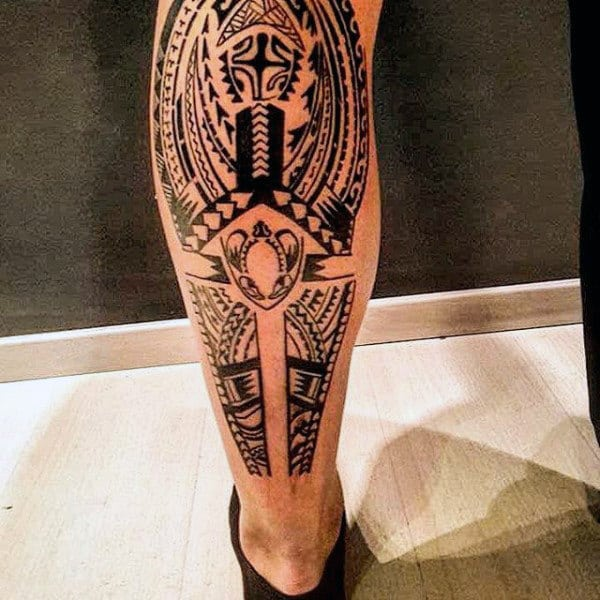 Masculine Guys Leg Tribal Tattoos