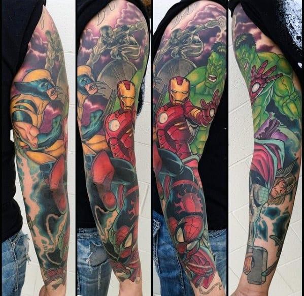 Masculine Guys Marvel Full Arm Sleeve Superhero Tattoo Ideas