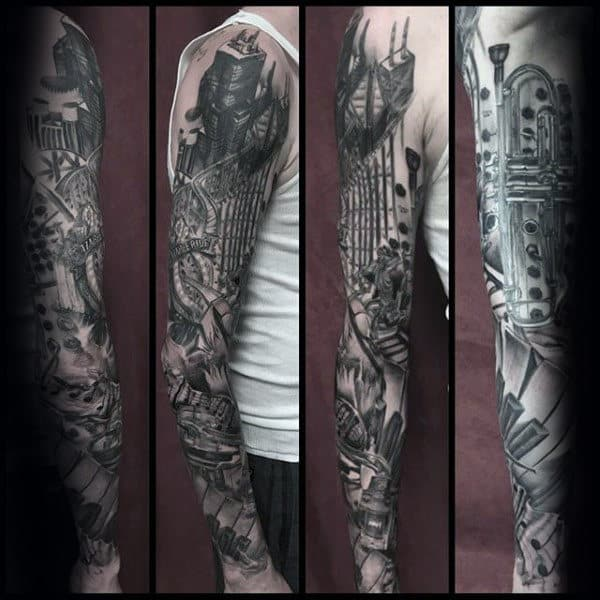 Masculine Guys Music Shaded Black And Grey Ink Full Sleeve Tattoo Design Inspiration