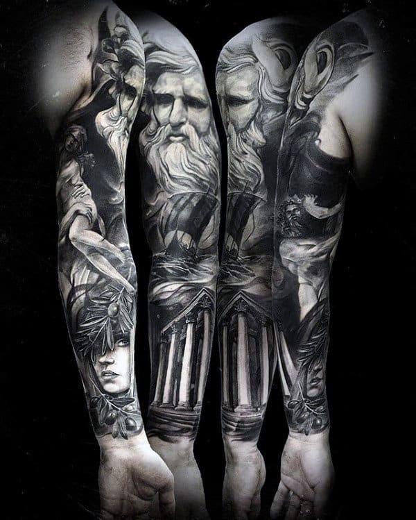 Masculine Guys Odin Themed Full Sleeve Tattoos