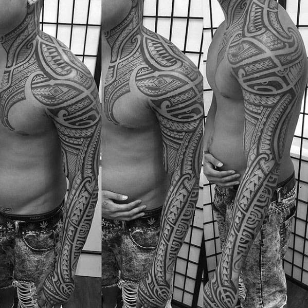 Masculine Guys Polynesian Tribal Sleeve Tattoo Ideas