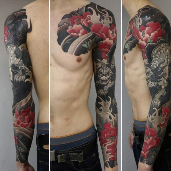masculine-guys-red-flower-japanese-sleeve-tattoo