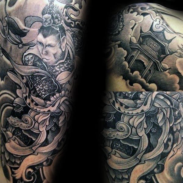 Masculine Guys Shaded Black And Grey Monkey King Sleeve Tattoo