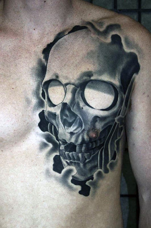 Masculine Guys Shaded Skull Black And Grey Ink Tattoo On Chest