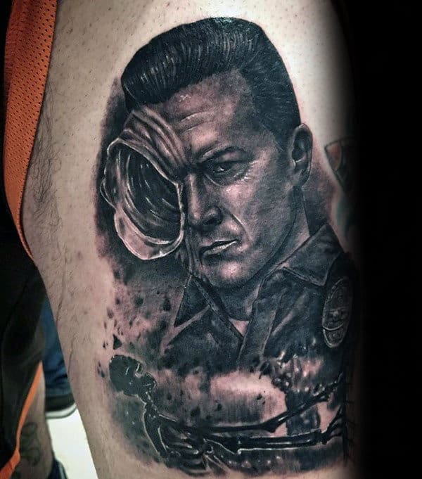 Masculine Guys Terminator Thigh Tattoo Design Ideas