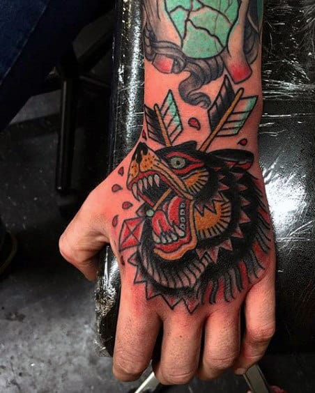 Masculine Guys Traditional Bear With Arrows Hand Tattoos