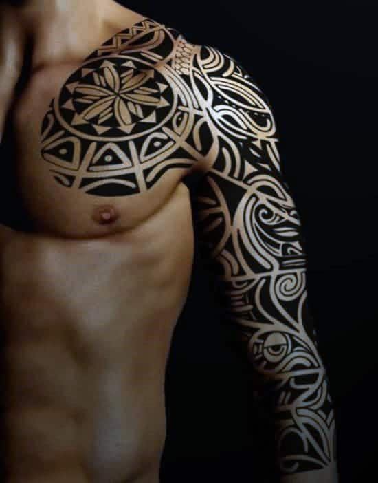 Masculine Guys Tribal Sleeve And Chest Tattoos