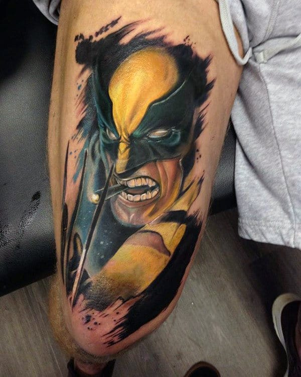 Masculine Guys Wolverine Thigh Tattoos