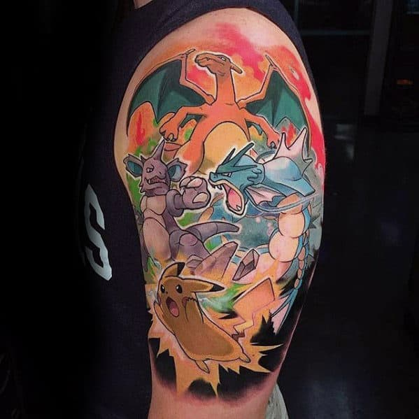 Masculine Gyarados Pokemon Half Sleeve Tattoo Design Ideas