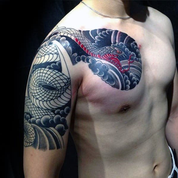 Masculine Half Sleeve And Chest Japanese Snake Tattoos For Men