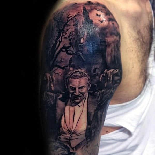 Masculine Half Sleeve Dracula Themed Tattoos For Men