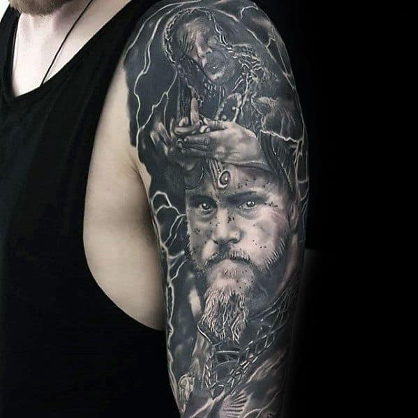 Masculine Half Sleeve Ragnar Tattoos For Men