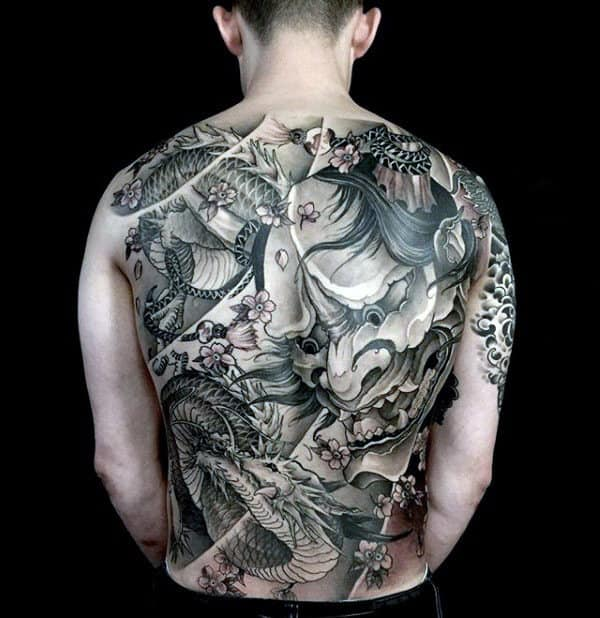Masculine Hannya Mask And Dragon Full Back Tattoos For Men