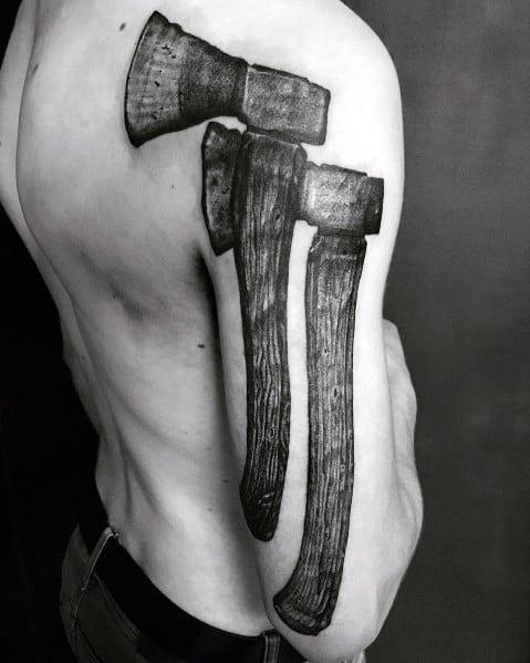 Masculine Hatchet Tattoos For Men