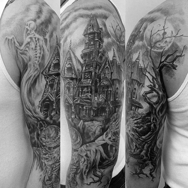 Masculine Haunted House Tattoos For Men