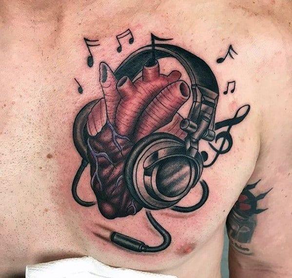 Masculine Headphones Heart Tattoos For Men Upper Chest