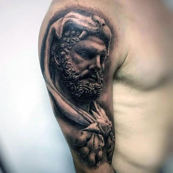 Masculine Hercules Half Sleeve Tattoos For Guys