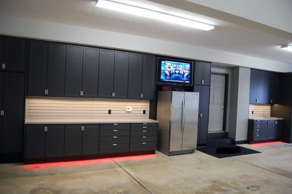 Masculine Home Garage Ideas Black Cabinet Storage Units With Fridge And Neon Lights