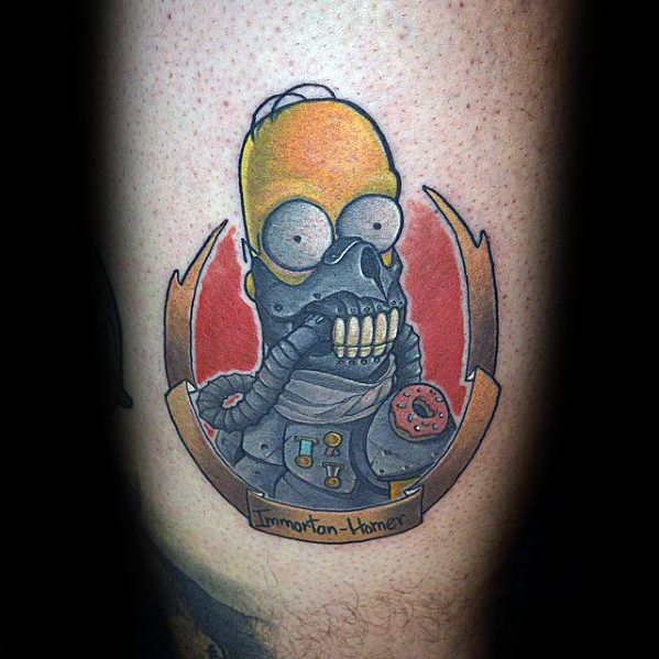 Masculine Homer Simpson Tattoos For Men On Leg