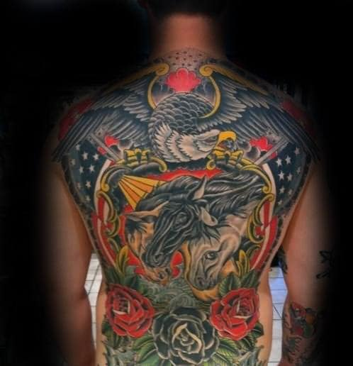 Masculine Horses With Eagle And American Flag Back Tattoo