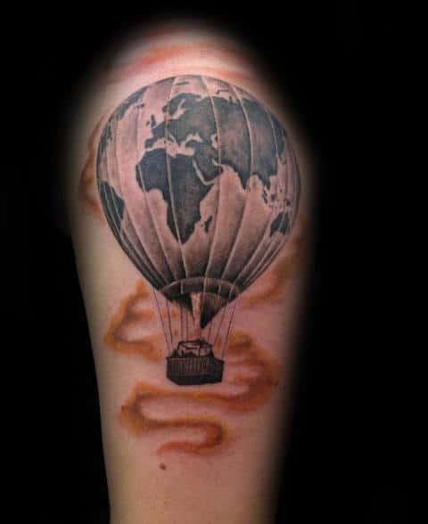 Masculine Hot Air Balloon Globe Tattoo For Guys