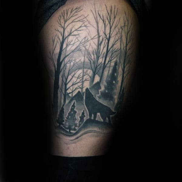 Masculine Howling Wolf Silhouette Mens Leg Tattoo Ideas